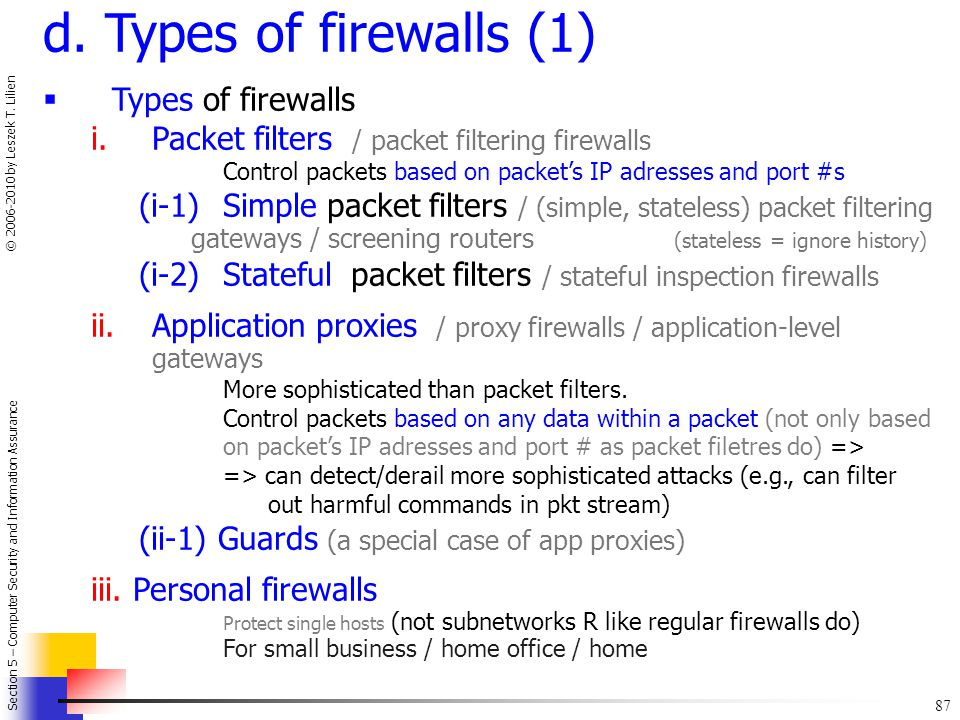 d. Types of firewalls (1) Types of firewalls