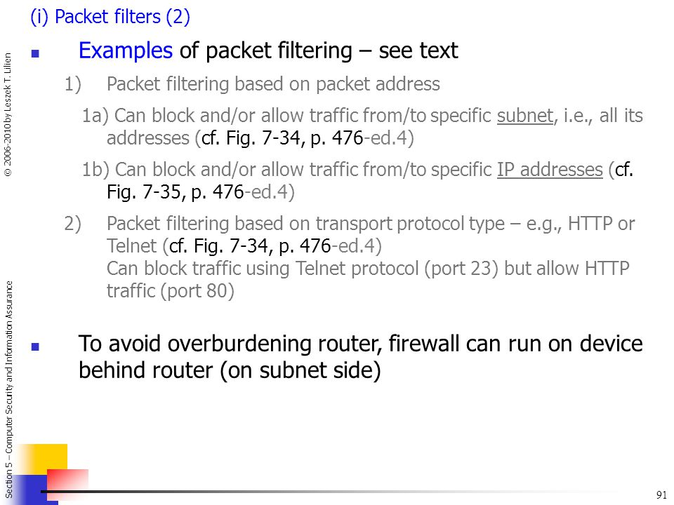 Examples of packet filtering – see text