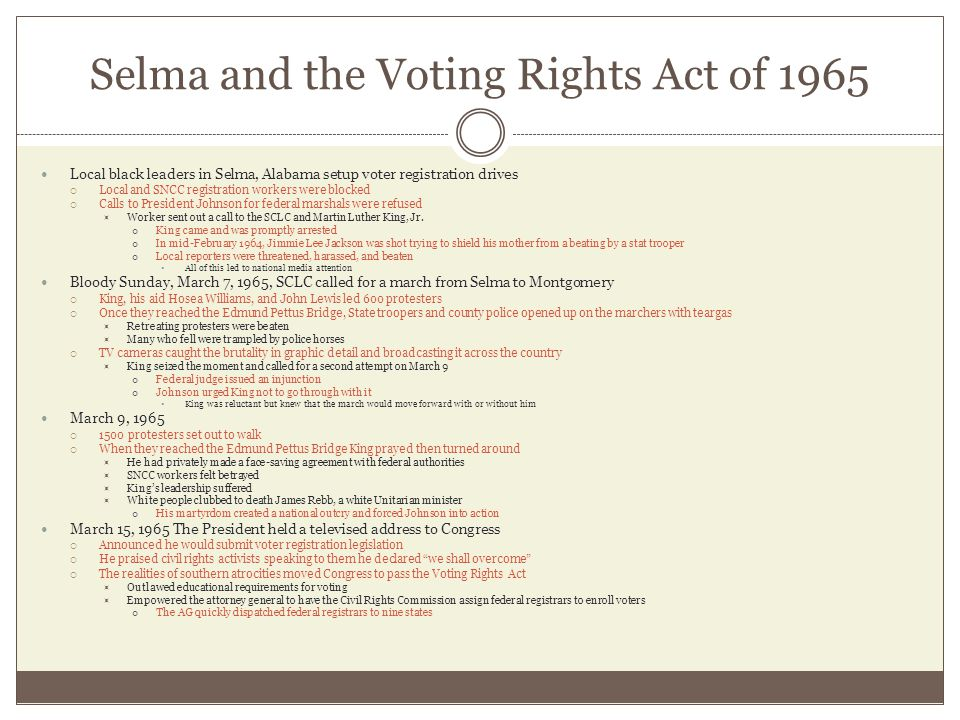 Selma and the Voting Rights Act of 1965