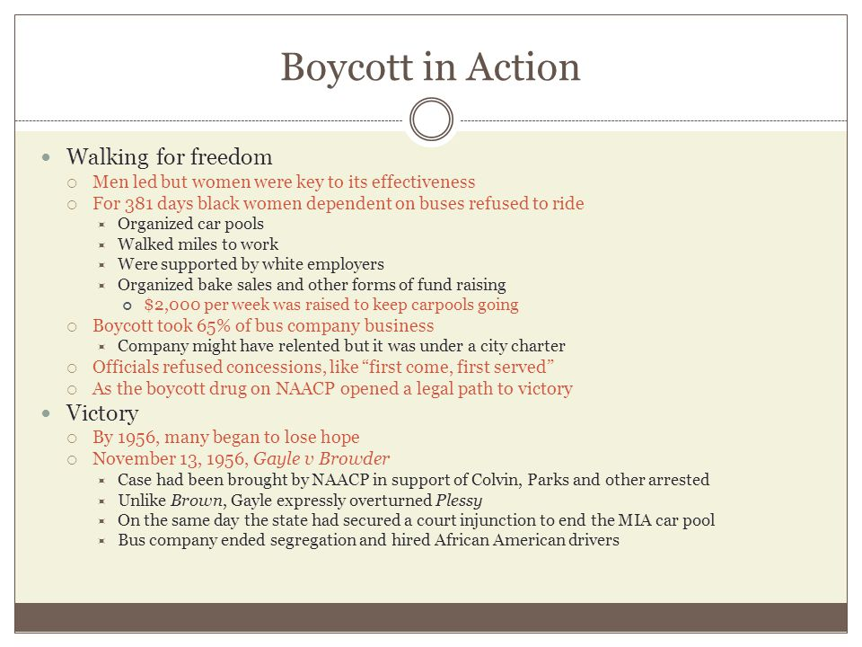Boycott in Action Walking for freedom Victory