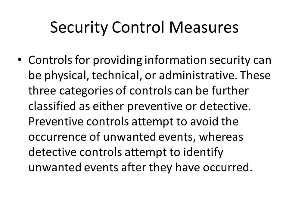 Security Control Measures