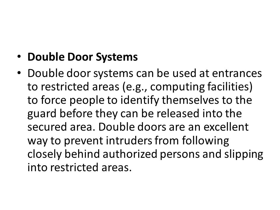 Double Door Systems