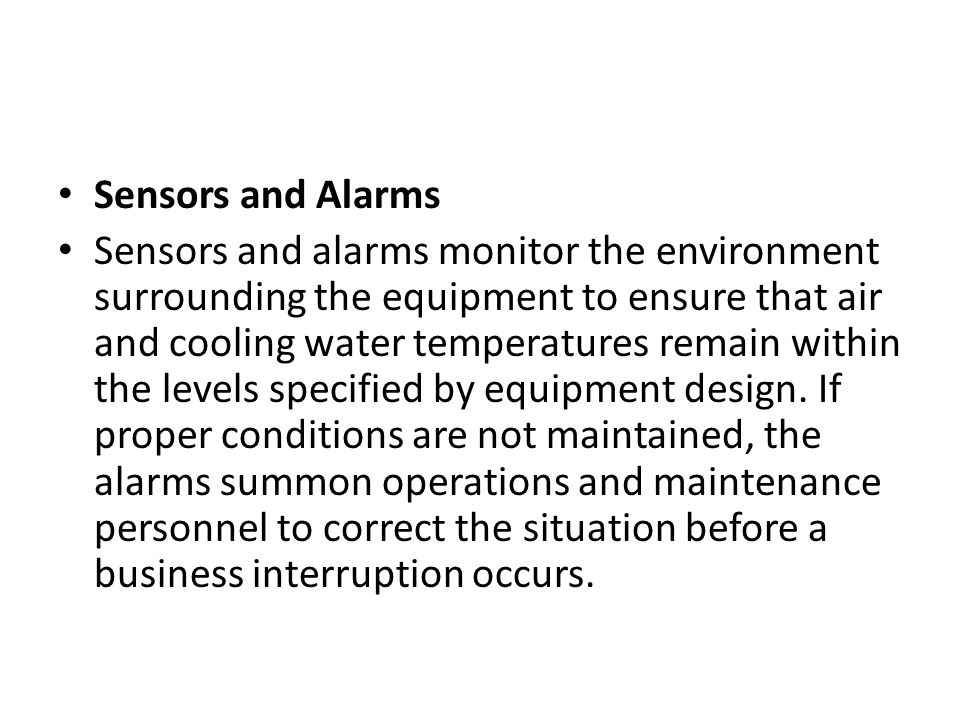 Sensors and Alarms