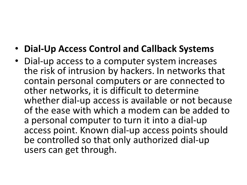 Dial-Up Access Control and Callback Systems