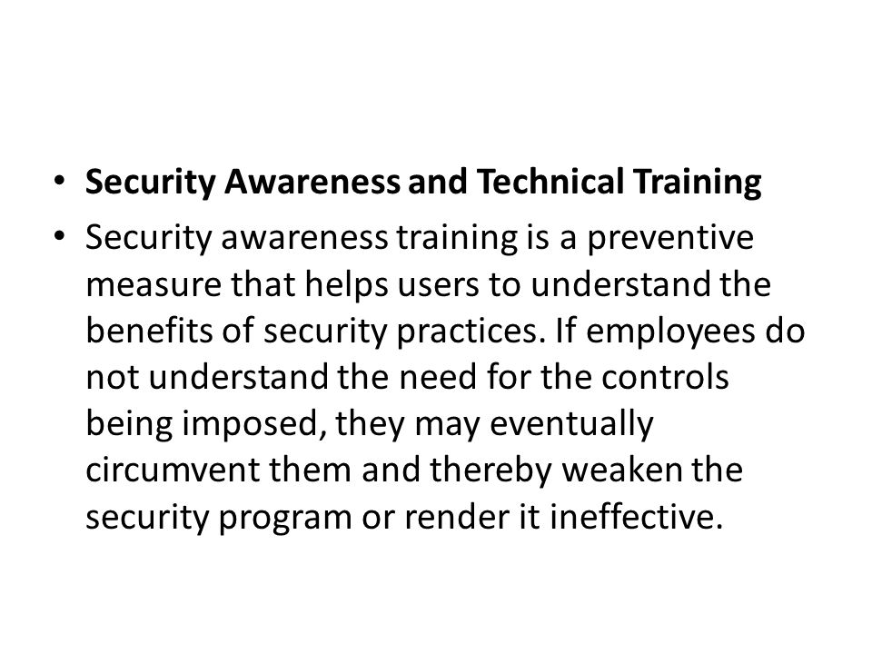 Security Awareness and Technical Training