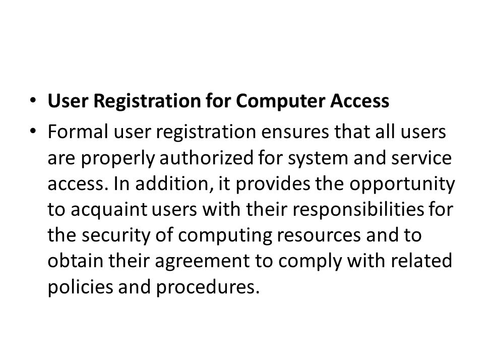User Registration for Computer Access