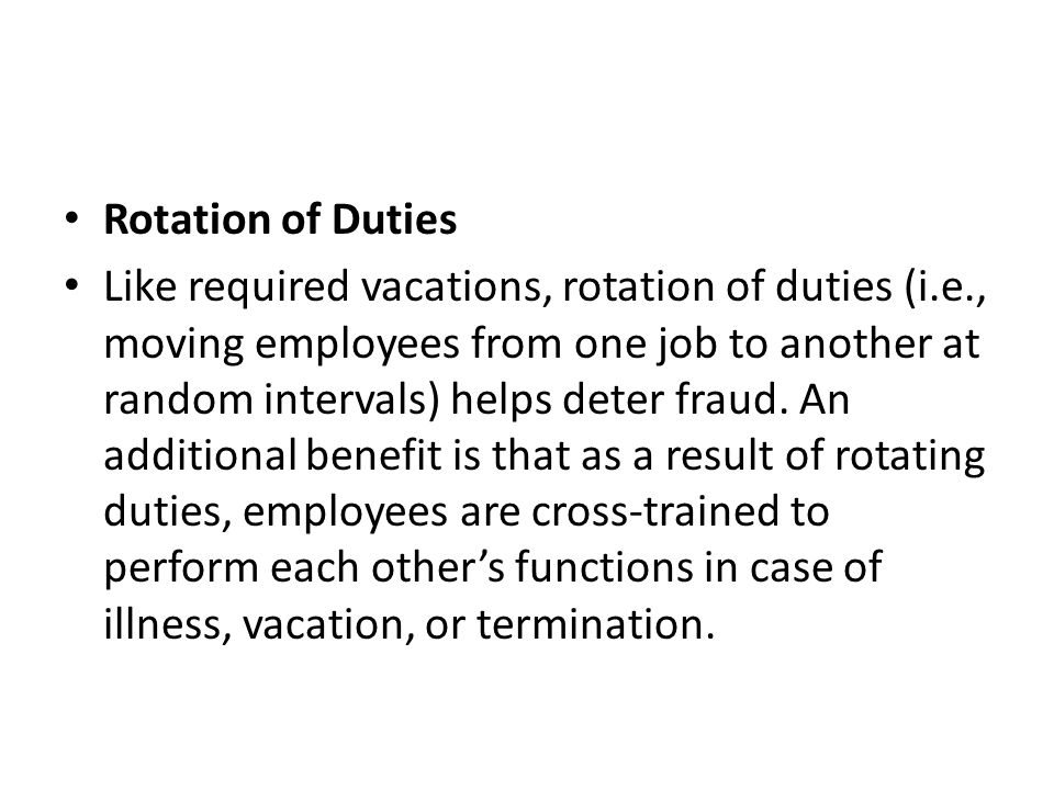 Rotation of Duties