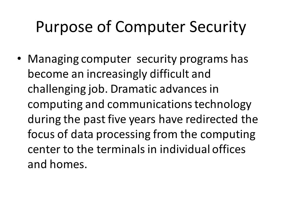 Purpose of Computer Security