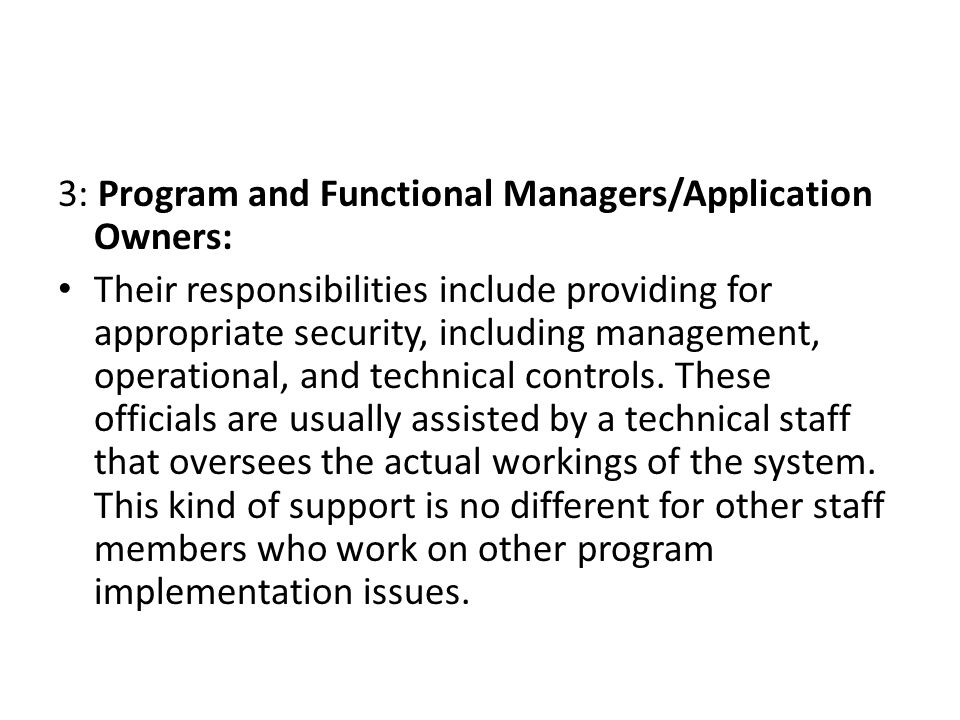 3: Program and Functional Managers/Application Owners: