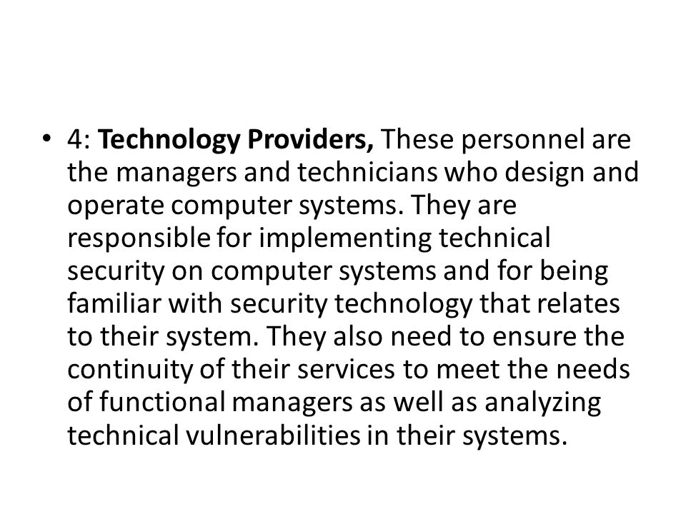 4: Technology Providers, These personnel are the managers and technicians who design and operate computer systems.