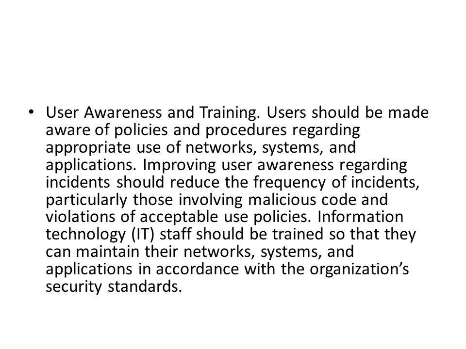 User Awareness and Training