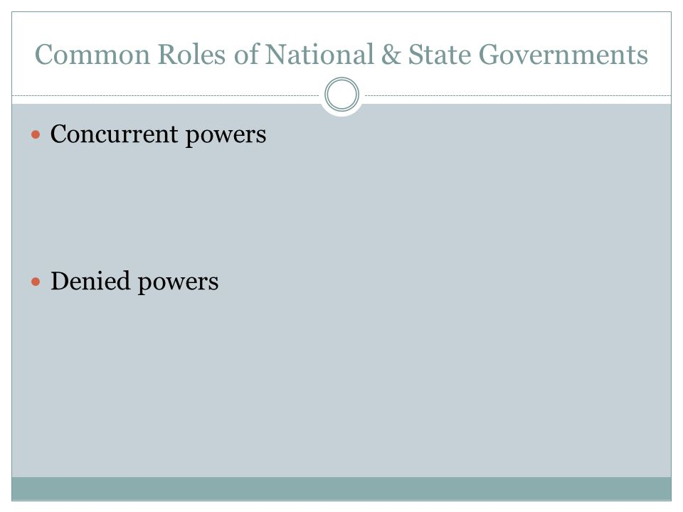 Common Roles of National & State Governments