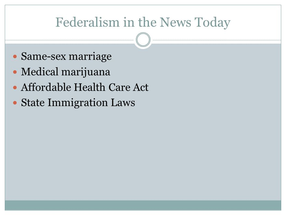 Federalism in the News Today