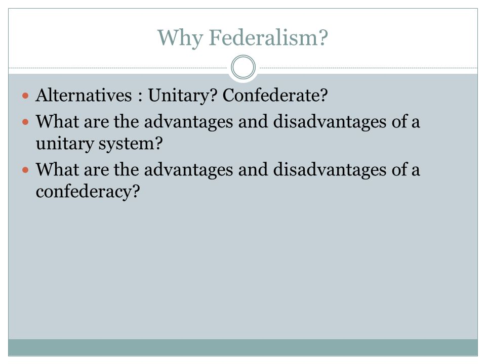 Why Federalism Alternatives : Unitary Confederate