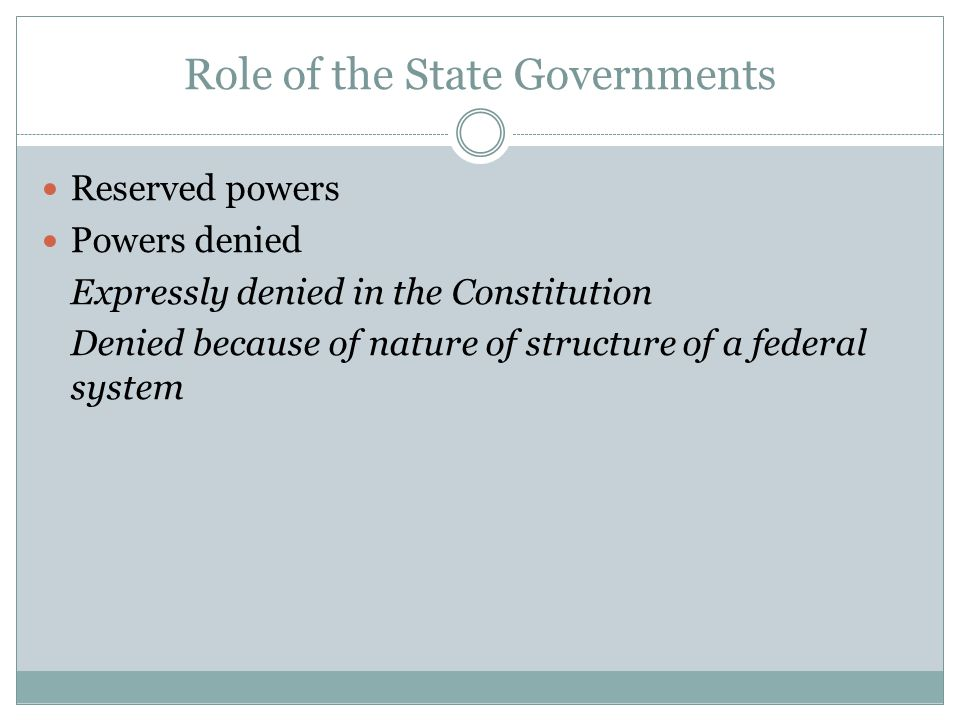 Role of the State Governments