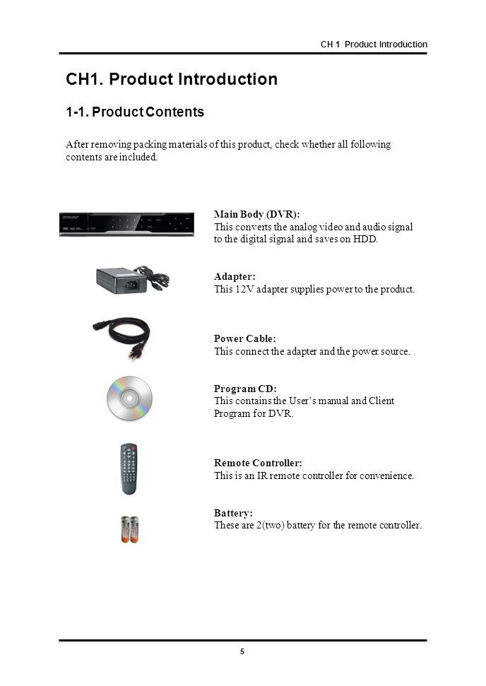 CH1. Product Introduction