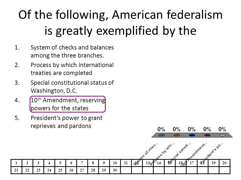 Of the following, American federalism is greatly exemplified by the