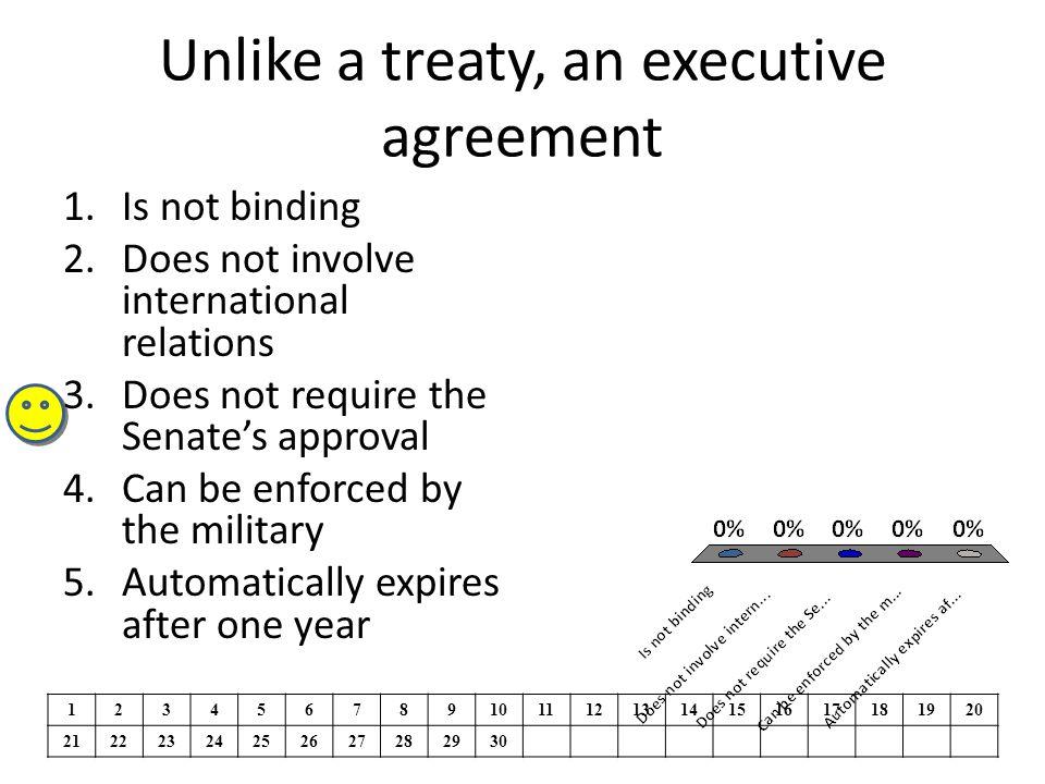Unlike a treaty, an executive agreement
