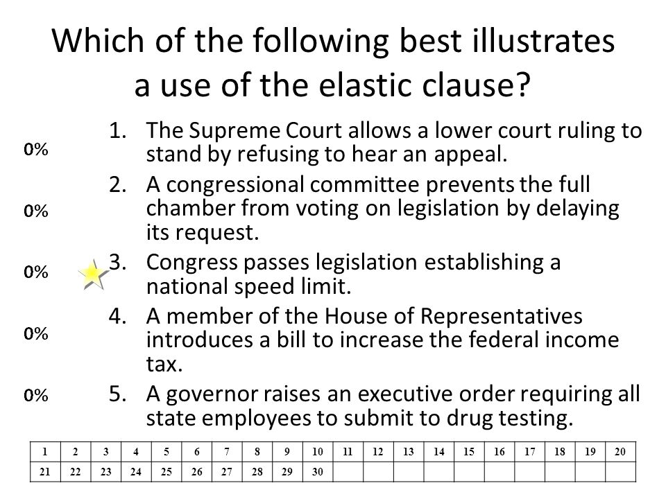 Which of the following best illustrates a use of the elastic clause