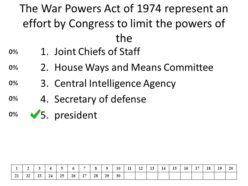 The War Powers Act of 1974 represent an effort by Congress to limit the powers of the