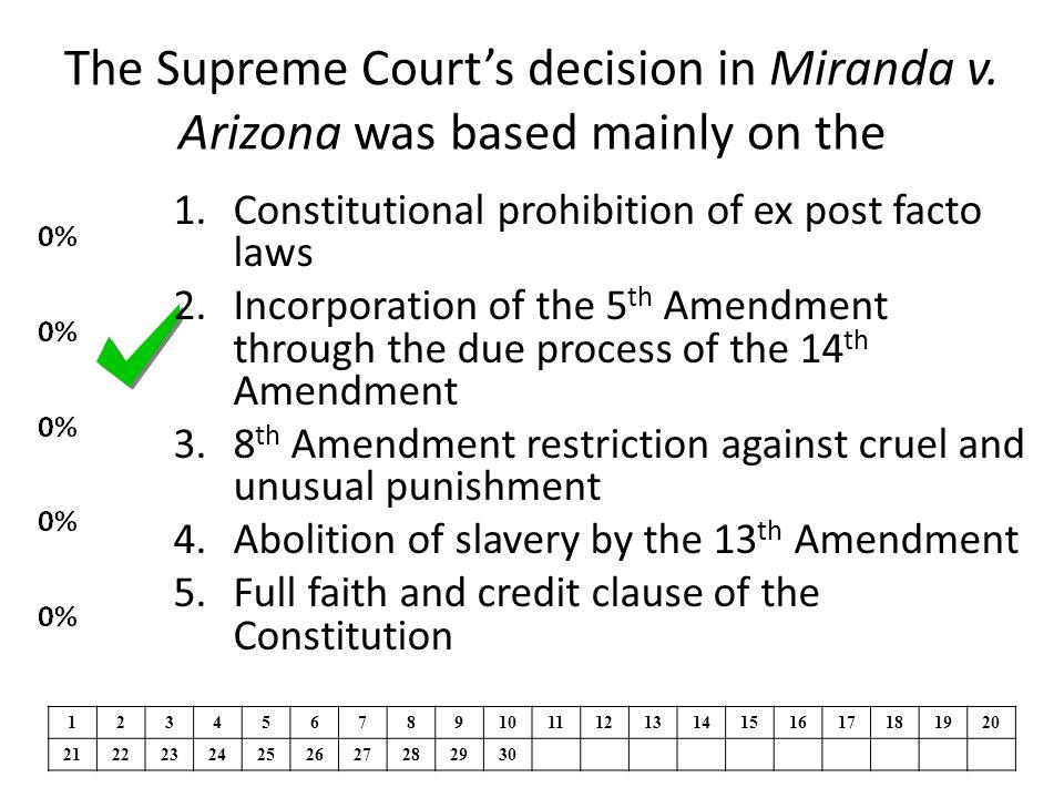 The Supreme Court's decision in Miranda v