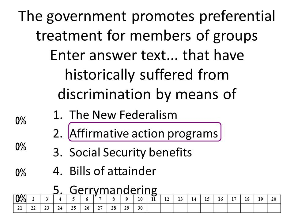 The government promotes preferential treatment for members of groups Enter answer text... that have historically suffered from discrimination by means of