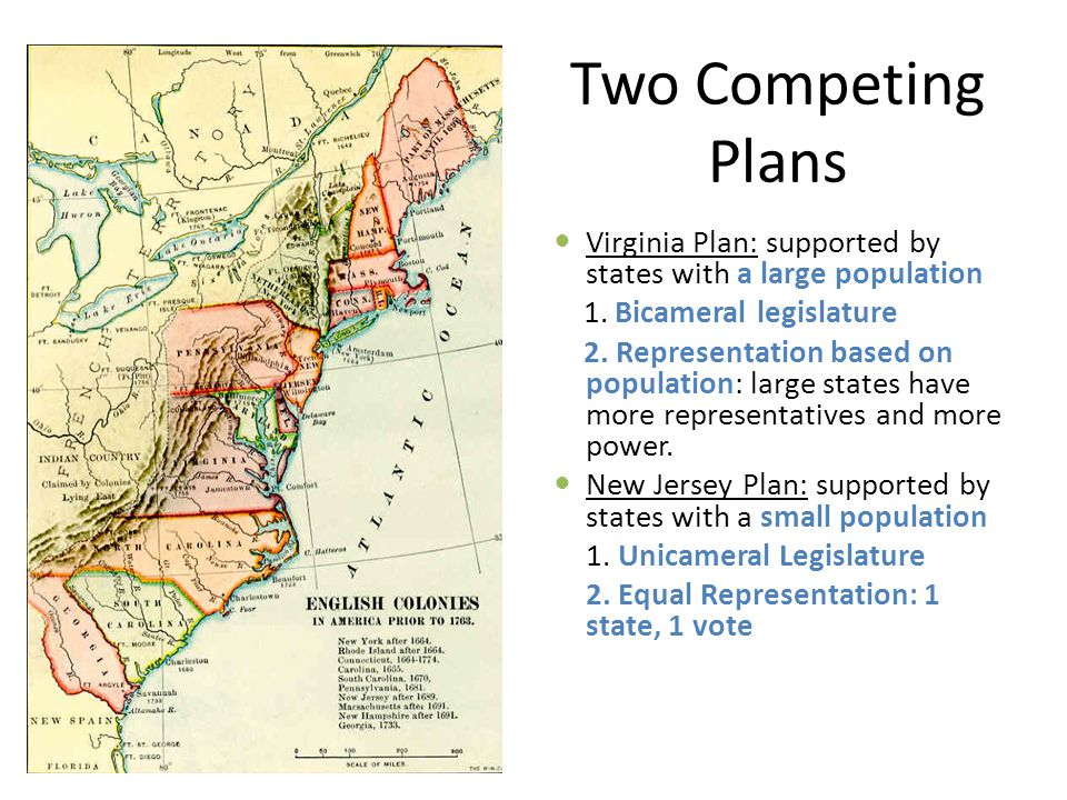 Two Competing Plans Virginia Plan: supported by states with a large population. 1. Bicameral legislature.