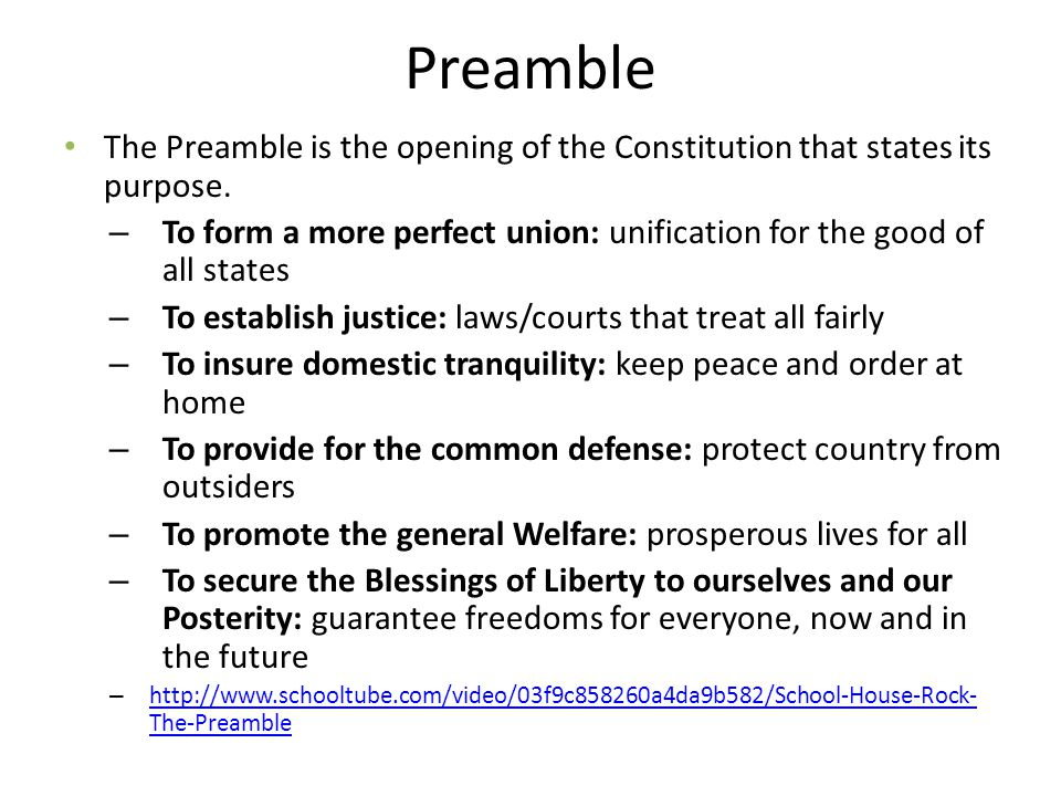 Preamble The Preamble is the opening of the Constitution that states its purpose.