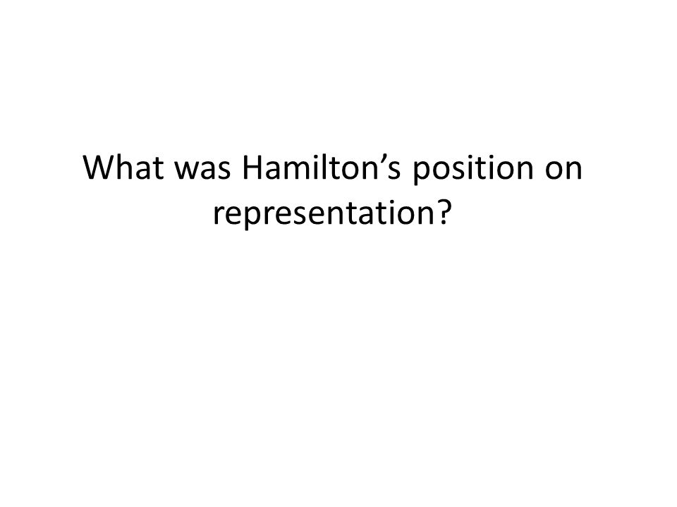 What was Hamilton's position on representation