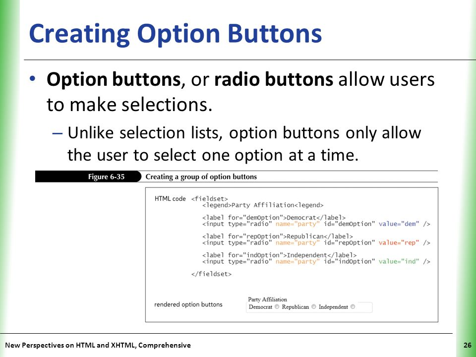 Creating Option Buttons