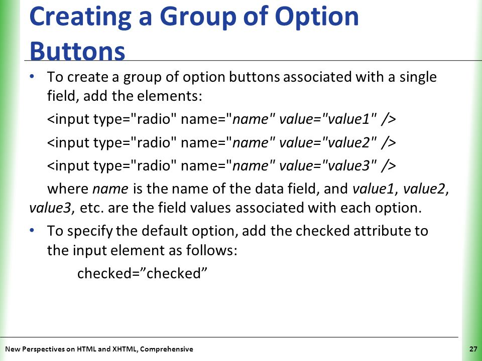 Creating a Group of Option Buttons