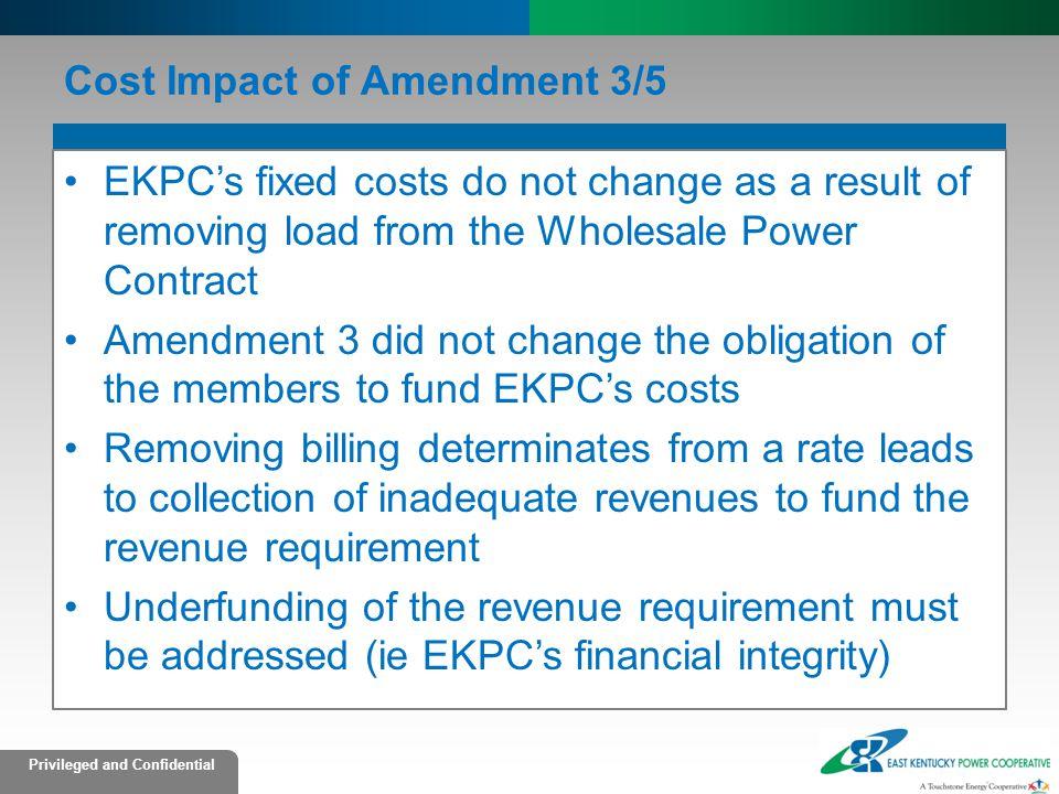 Cost Impact of Amendment 3/5