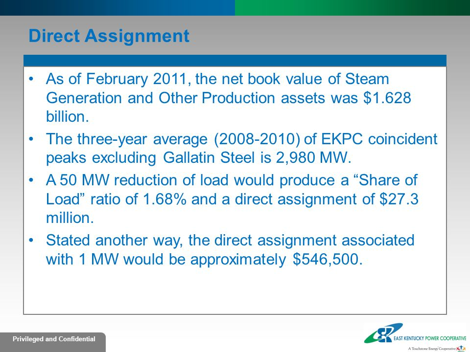 Direct Assignment As of February 2011, the net book value of Steam Generation and Other Production assets was $1.628 billion.