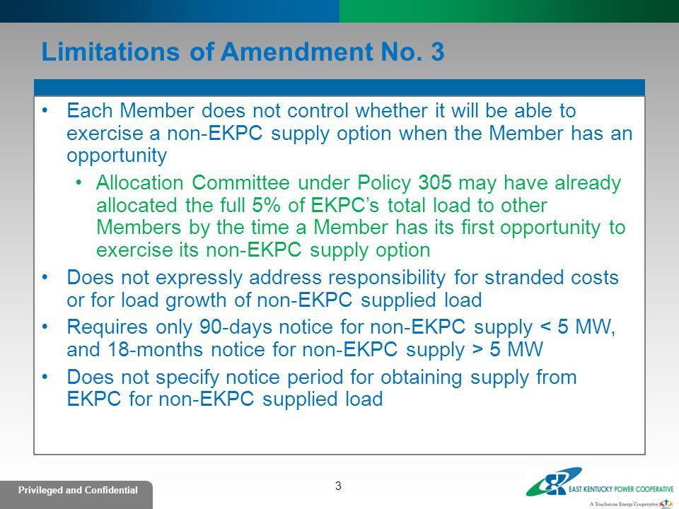 Limitations of Amendment No. 3