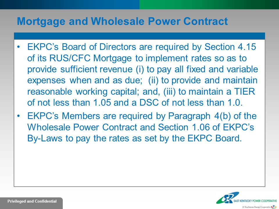 Mortgage and Wholesale Power Contract