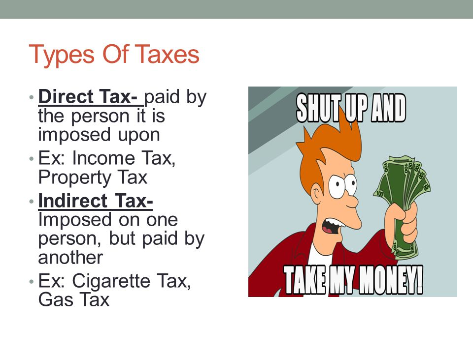 Types Of Taxes Direct Tax- paid by the person it is imposed upon
