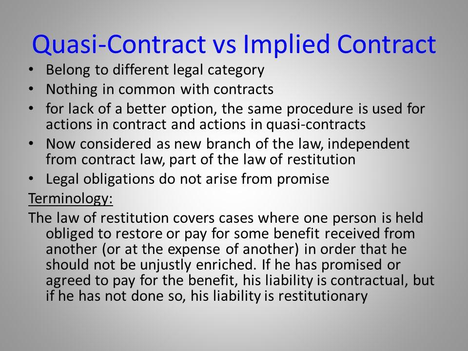 Quasi-Contract vs Implied Contract