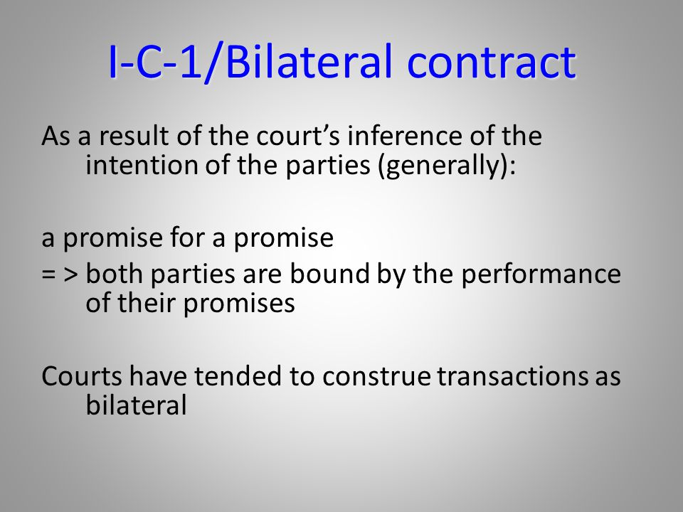 I-C-1/Bilateral contract