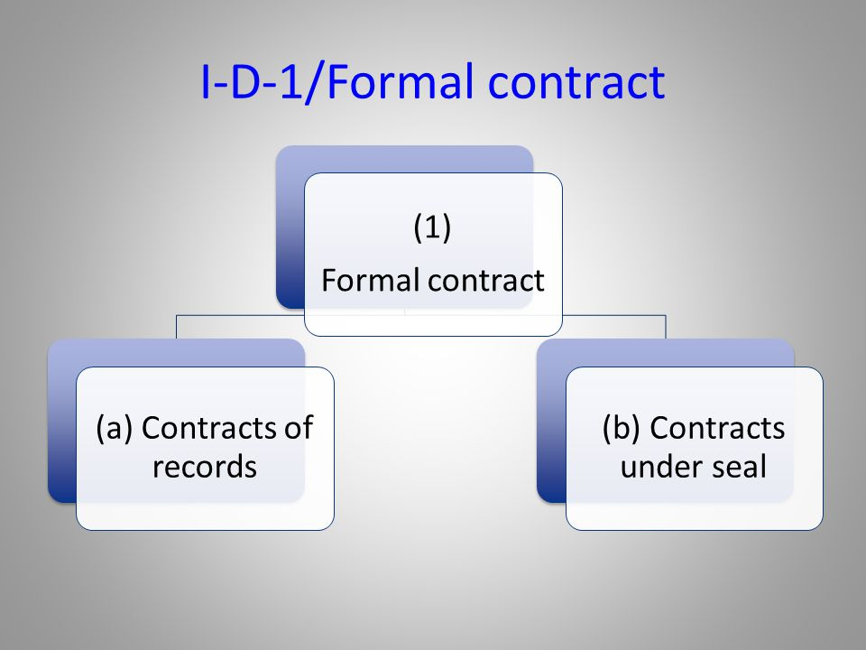 I-D-1/Formal contract (1) Formal contract (a) Contracts of records