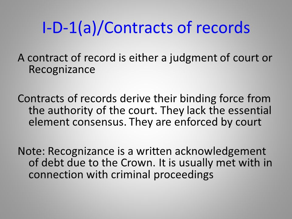 I-D-1(a)/Contracts of records