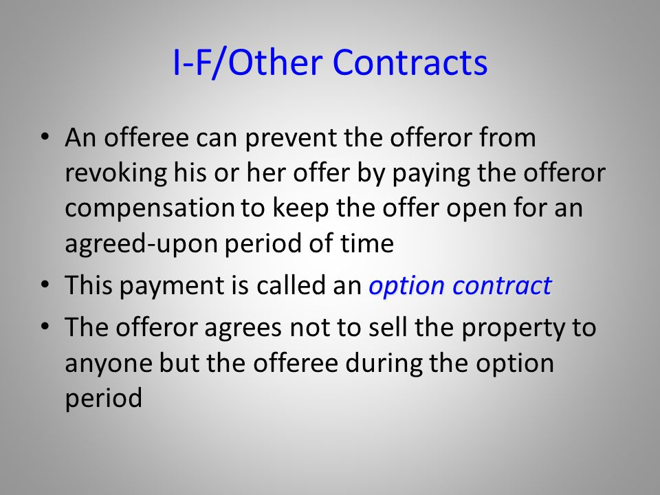 I-F/Other Contracts