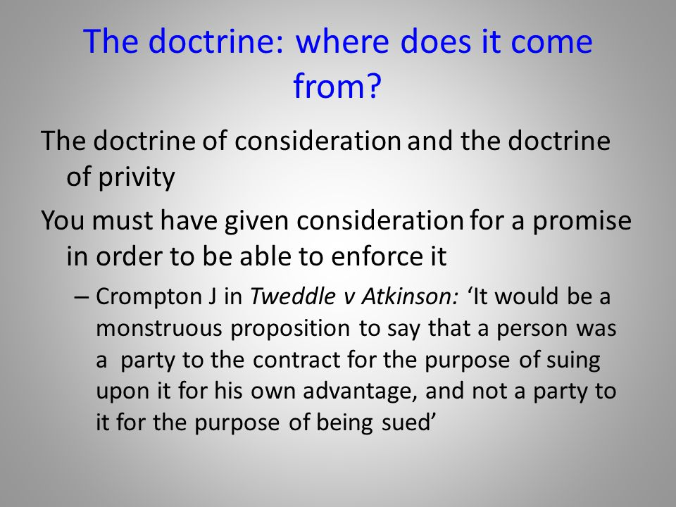 The doctrine: where does it come from