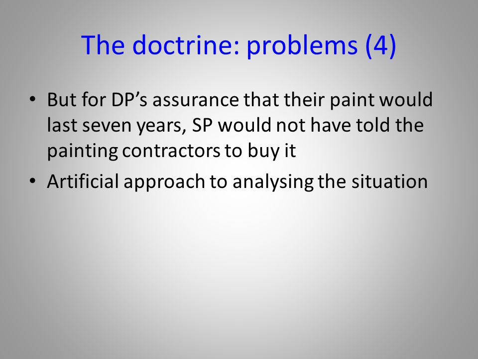The doctrine: problems (4)