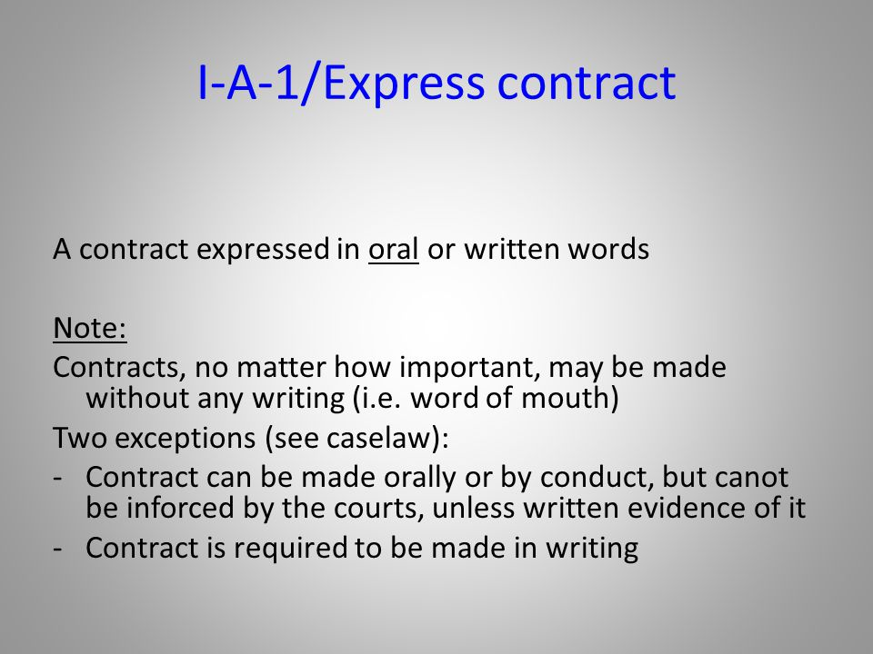 I-A-1/Express contract