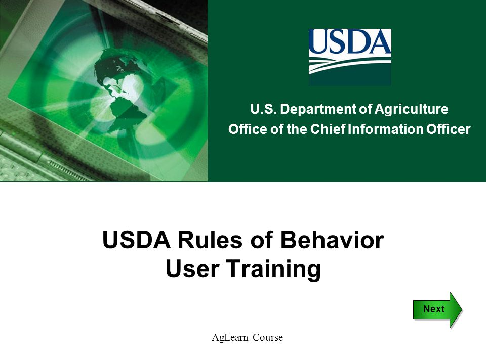 USDA Rules of Behavior User Training