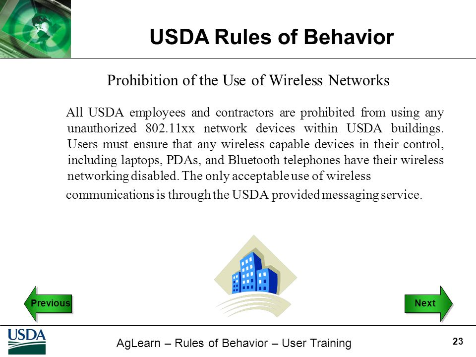 Prohibition of the Use of Wireless Networks