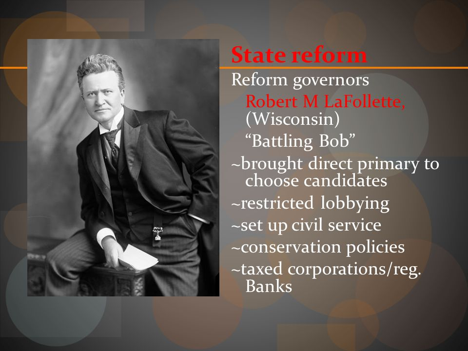 State reform Reform governors Robert M LaFollette, (Wisconsin)