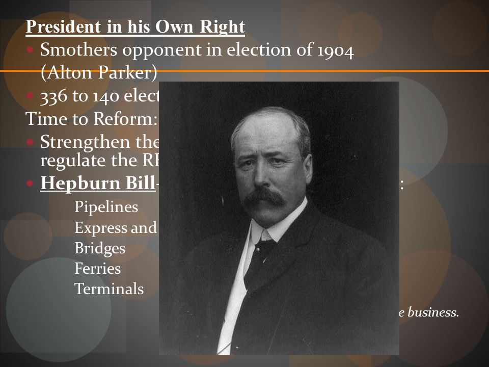 President in his Own Right Smothers opponent in election of 1904