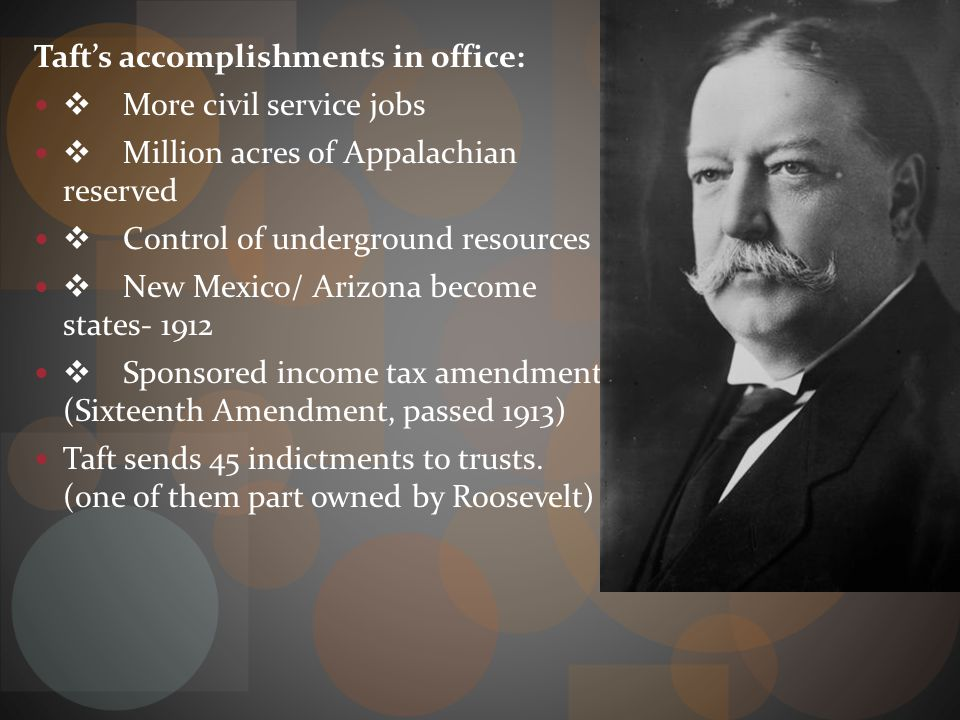 Taft's accomplishments in office:
