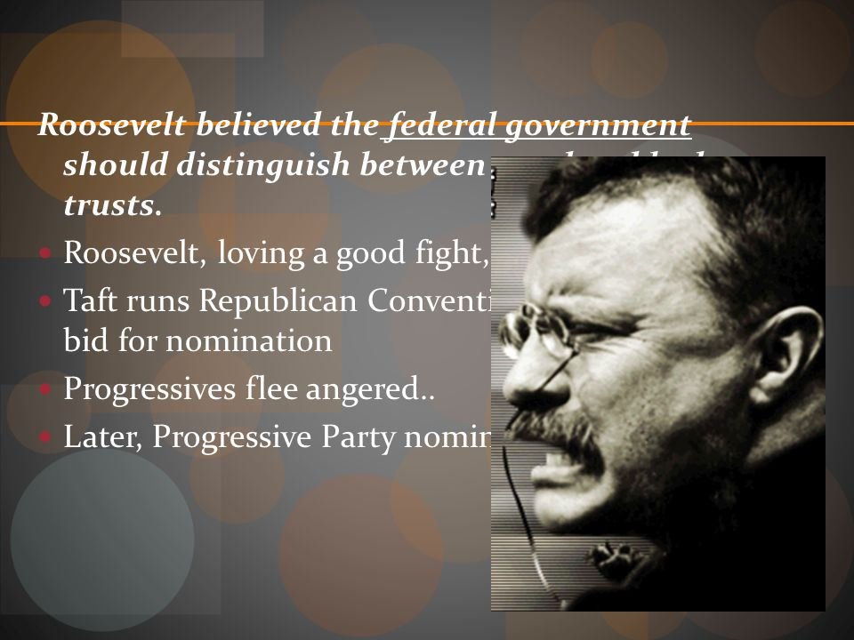 Roosevelt believed the federal government should distinguish between good and bad trusts.